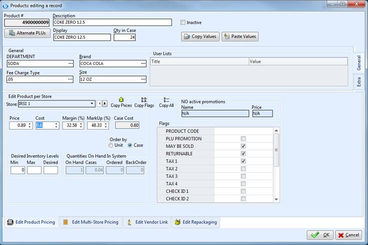 Screenshot of BackOffice Software