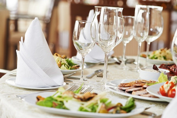 catering services background with snacks and glasses of wine on