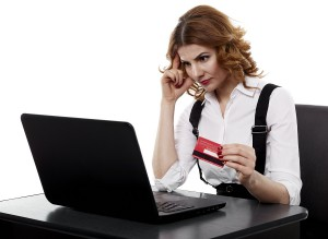 business woman trying to decide where to buy her POS system from