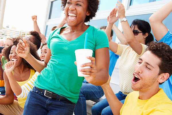 sports spectators celebrating