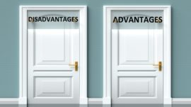 Disadvantages and advantages as a choice – pictured as words Disadvantages, advantages on doors to show that Disadvantages and advantages are opposite options while making decision, 3d illustration